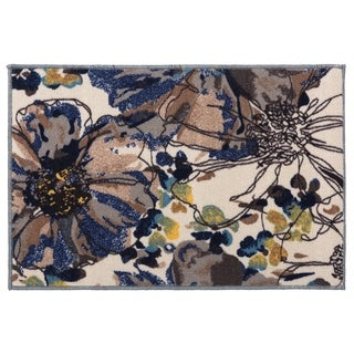 "Modern Bright Flowers Cream Non-slip Non-skid Rug - 1'8"" x 2'6"""