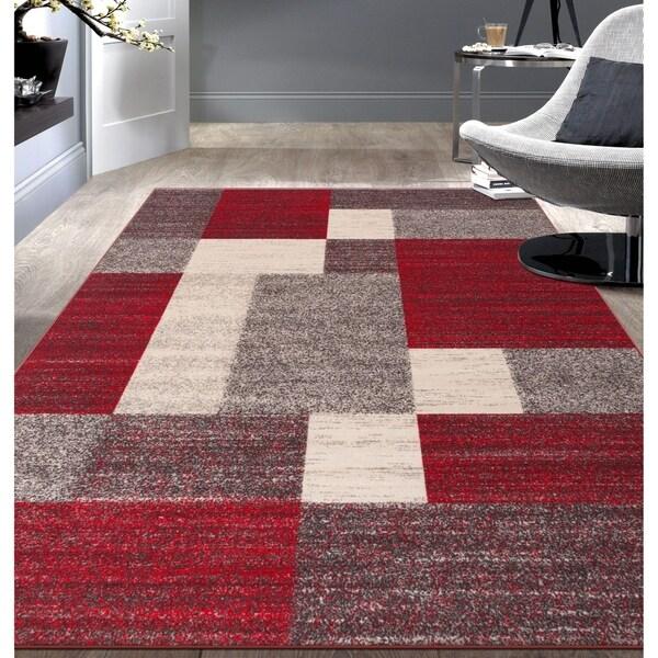 """Modern Red Boxes Design Non-slip (Non-skid) Area Rug - 7'10"""" x 10'"""