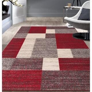 """Modern Red Boxes Design Non-slip (Non-skid) Area Rug - 5'3"""" x 7'3"""""""