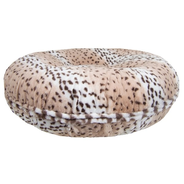 Bessie and Barnie Signature Aspen Snow Leopard Luxury Extra Plush Faux Fur Bagel Pet / Dog Bed