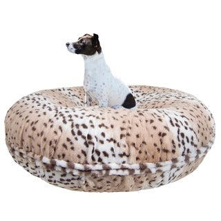 Bessie and Barnie Signature Aspen Snow Leopard Luxury Extra Plush Faux Fur Bagel Pet / Dog Bed
