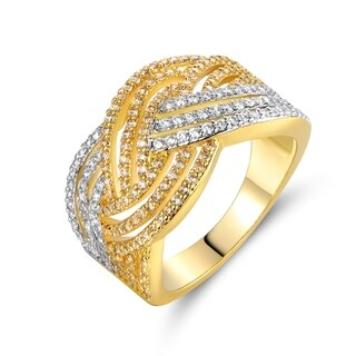 Gold Plated Cubic Zirconia Braided Cocktail Ring (More options available)
