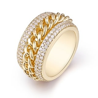 Gold Plated & Cubic Zirconia Braid Statement Ring