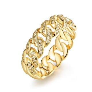 Gold Plated Cubic Zirconia Braided Ring (More options available)