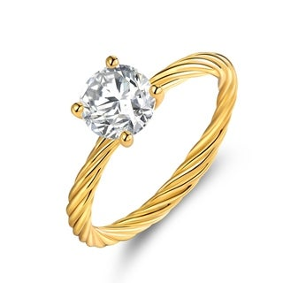Gold Plated Cubic Zirconia Solitaire Braided Ring