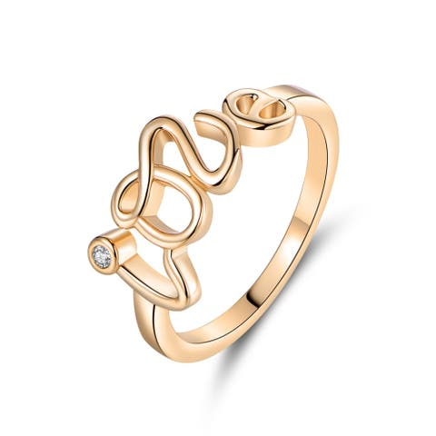 Gold Plated and Cubic Zirconia Love Ring
