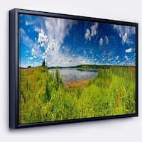 Designart 'Ideal Summer Meadow Panorama' Landscape Framed Canvas Art Print