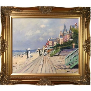 Claude Monet 'The Boardwalk At Trouville' Hand Painted Oil Reproduction
