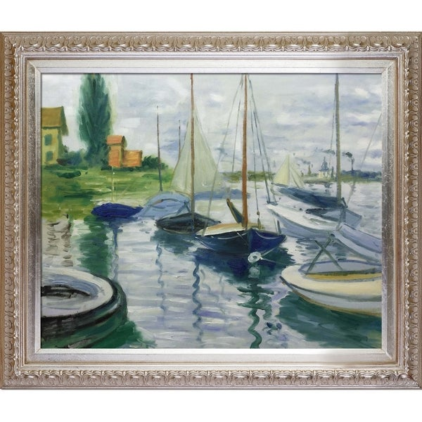 Claude Monet 'Boats At Rest, At Petit-Gennevilliers' Hand Painted Oil Reproduction