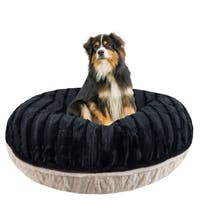 Bessie and Barnie Signature Black Puma/ Natural Beauty Luxury Extra Plush Faux Fur Bagel Pet / Dog Bed