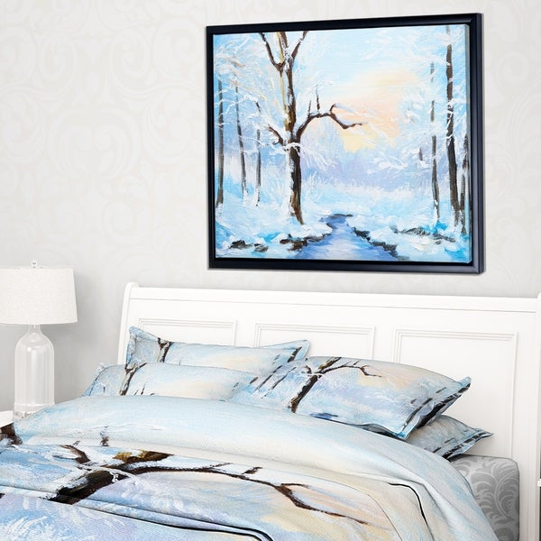 Shop Designart \'White Frozen River in Forest\' Landscape Painting ...