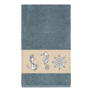 Link to Authentic Hotel and Spa Turkish Cotton Nautical Embroidered Teal Blue Bath Towel Similar Items in Towels