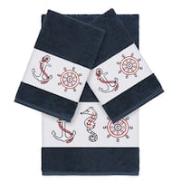 Authentic Hotel and Spa Turkish Cotton Nautical Embroidered Midnight Blue 3-piece Towel Set
