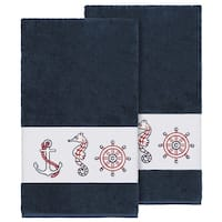 Authentic Hotel and Spa Turkish Cotton Nautical Embroidered Midnight Blue 2-piece Bath Towel Set