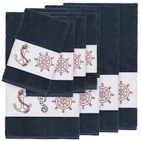 Authentic Hotel and Spa Turkish Cotton Nautical Embroidered Midnight Blue 8-piece Towel Set
