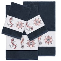 Authentic Hotel and Spa Turkish Cotton Nautical Embroidered Midnight Blue 4-piece Towel Set