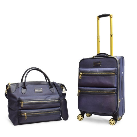 Adrienne Vittadini Two-Tone Nylon 2 Piece Luggage Set-Denim Blue
