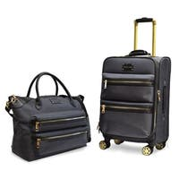 Adrienne Vittadini Two-Tone Nylon 2 Piece Luggage Set-Black