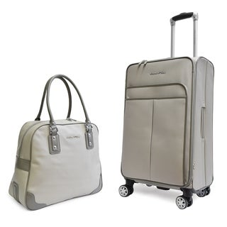 Adrienne Vittadini Stingray PU 2 Piece Luggage Set-Grey