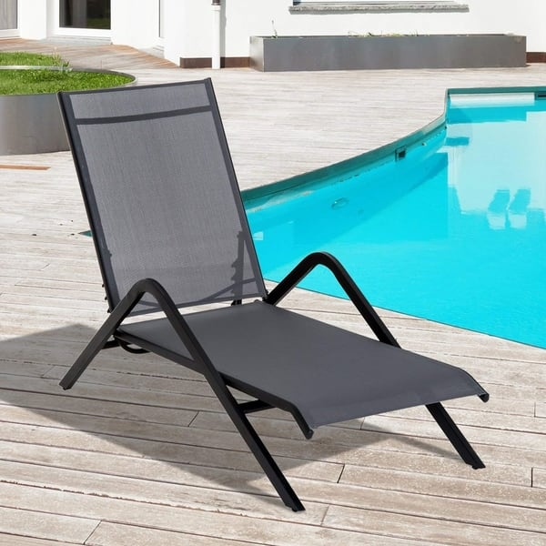 Super Shop Outsunny Steel Mesh Adjustable Folding Outdoor Chaise Gmtry Best Dining Table And Chair Ideas Images Gmtryco