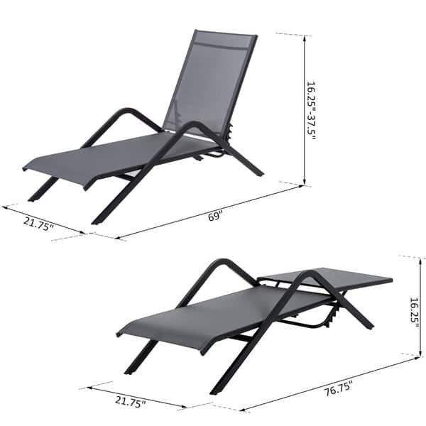 Prime Shop Outsunny Steel Mesh Adjustable Folding Outdoor Chaise Gmtry Best Dining Table And Chair Ideas Images Gmtryco