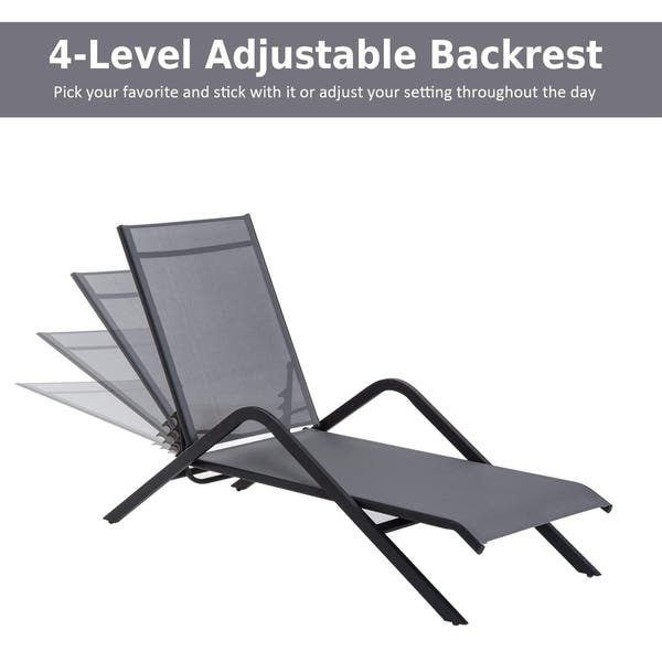Amazing Shop Outsunny Steel Mesh Adjustable Folding Outdoor Chaise Gmtry Best Dining Table And Chair Ideas Images Gmtryco