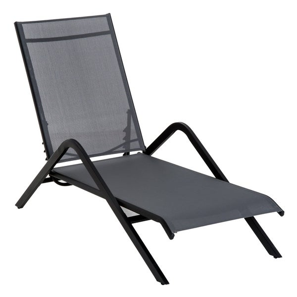 Outsunny Steel Mesh Adjustable Folding Outdoor Chaise Lounge Chair Portable    Grey