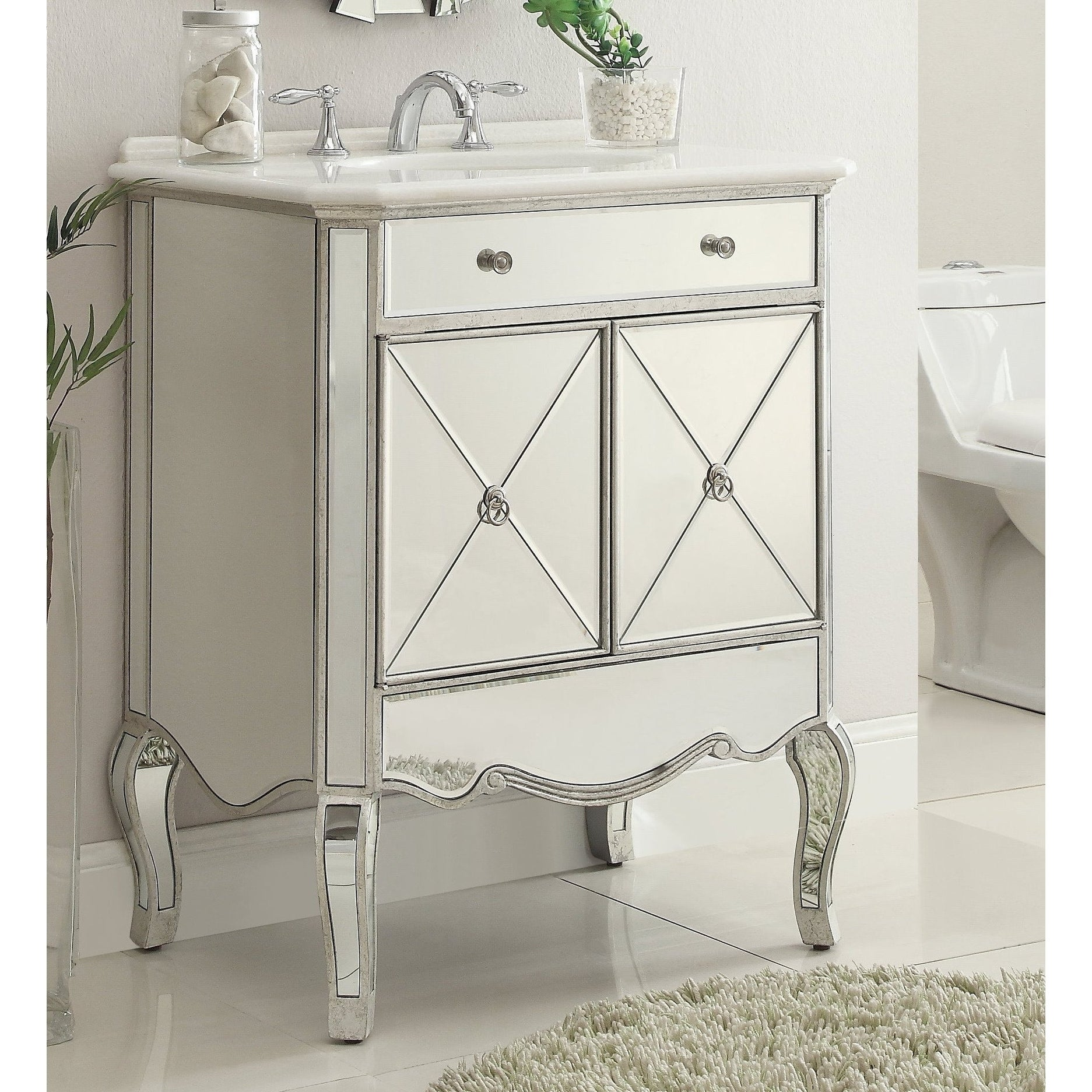 30 Benton Collection Adelisa Contemporary Mirrored Bathroom Vanity Overstock 22355692