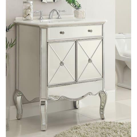 """30"""" Benton Collection Adelisa Contemporary Mirrored Bathroom Vanity"""