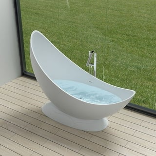 "70""Polystone Free Standing Bathtub in Glossy or Matte White Finish-No Faucet"