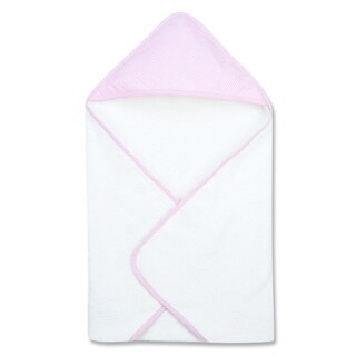 Pink Gingham Seersucker Deluxe Hooded Towel