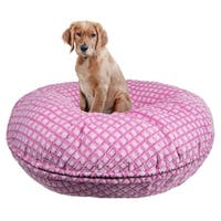 Bessie and Barnie Signature Pink It Fence Luxury Extra Plush Faux Fur Bagel Pet / Dog Bed