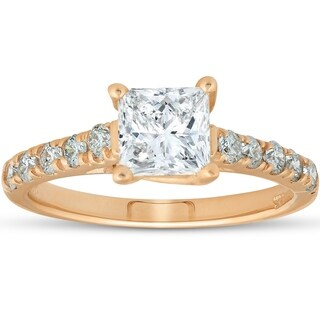 Bliss 14k Yellow Gold 1 1/4ct TDW Princess Cut Diamond Clarity Enhanced Engagement Ring - White (More options available)