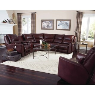 Southern Motion Producer Burgundy Leather Power Reclining Sectional Sofa