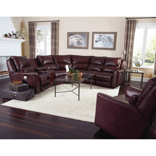 Southern Motion Producer Burgundy Leather Reclining Sectional Sofa