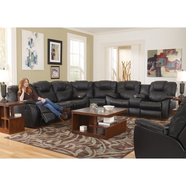 Shop Southern Motion Avalon Black Leather Reclining Sectional Sofa ...