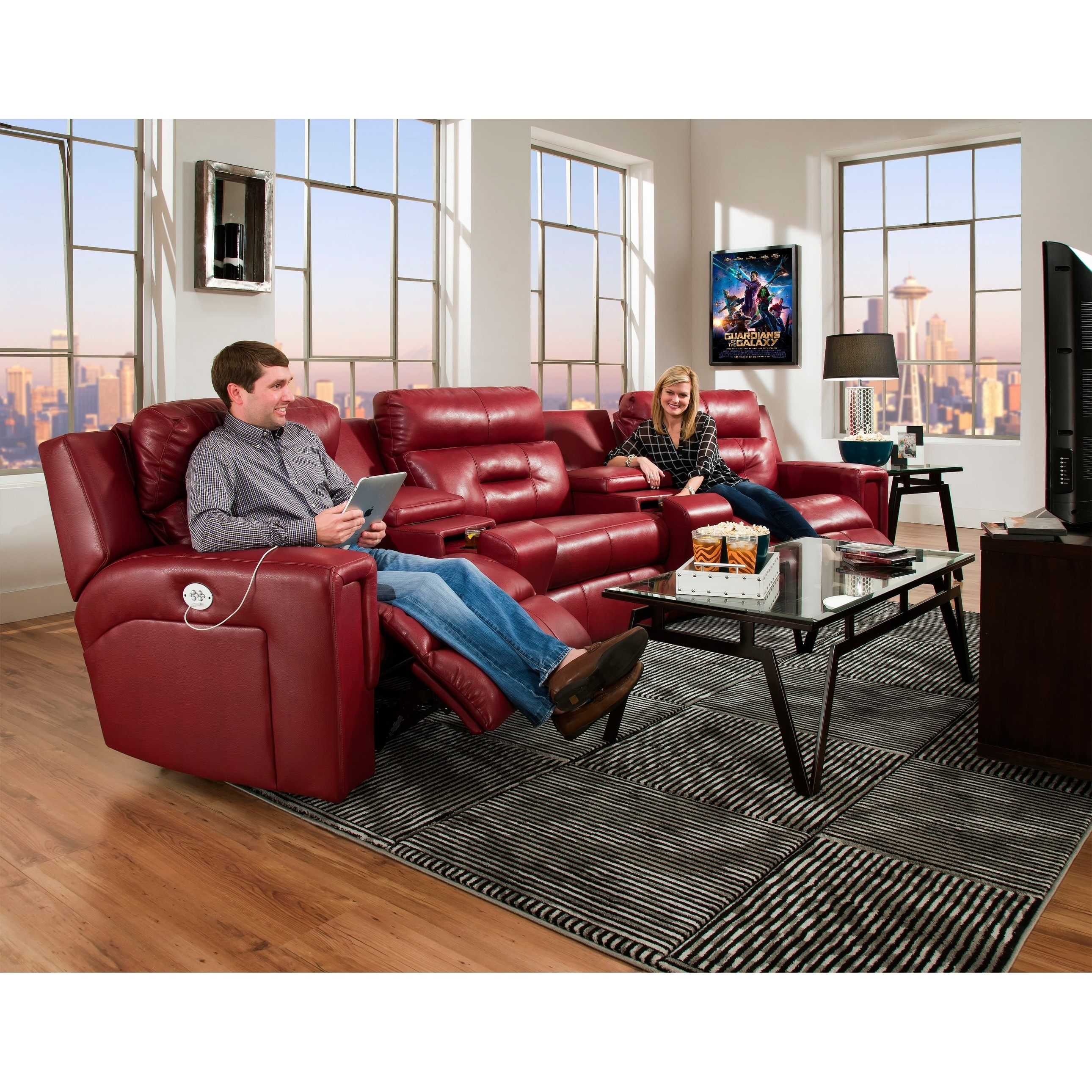 Southern Motion S Excel Power Reclining Home Theater Seating With Manual Recline Middle Seat
