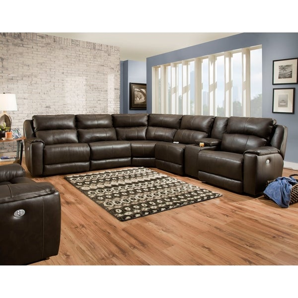 Southern Motion's Dazzle Power Reclining Sectional Sofa. Opens flyout.