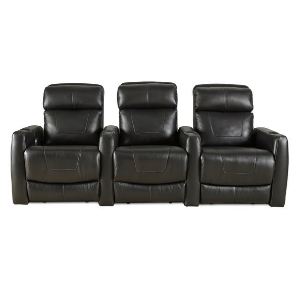 Shop Southern Motion Premier Black Leather Power Reclining Sectional