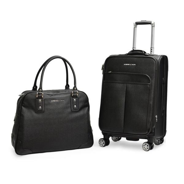 b282ad39a7 Adrienne Vittadini Pebble Grain Black 2-piece Spinner Luggage Set - 2 piece  set