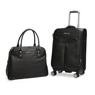 Adrienne Vittadini Stingray PU 2 Piece Luggage Set-Black