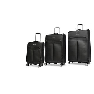 Adrienne Vittadini Stingray PU 3 Piece Upright Luggage Set-Black