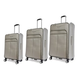 Adrienne Vittadini Stingray PU 3 Piece Upright Luggage Set-Grey