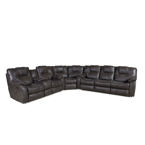 Shop Southern Motion Avalon Grey Faux Leather Reclining Sectional ...