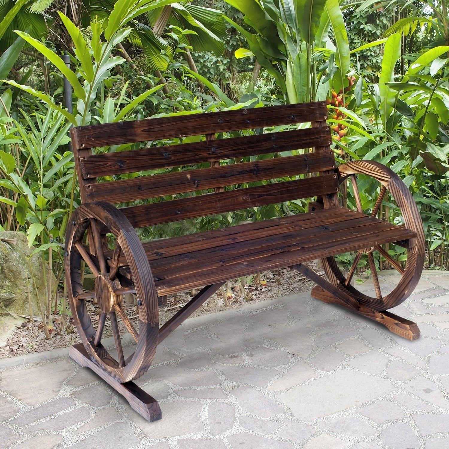 Picture of: Outsunny Rustic Outdoor Patio Wagon Wheel Wooden Bench Chair For Your Garden Patio Or Entryway Overstock 22357399