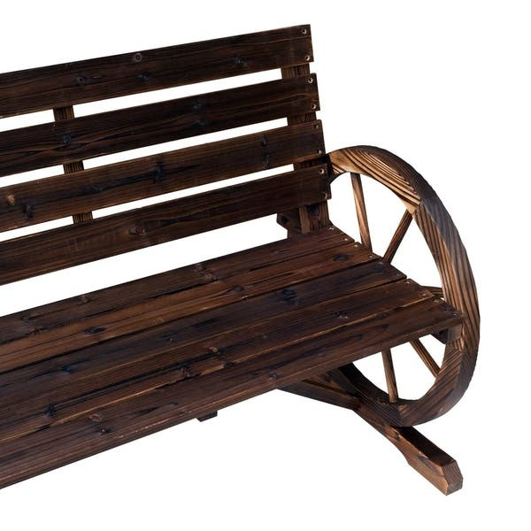 Prime Shop Outsunny Rustic Wood Outdoor Patio Wagon Wheel Wooden Beatyapartments Chair Design Images Beatyapartmentscom