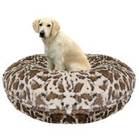 Bessie and Barnie Signature Giraffe Luxury Extra Plush Faux Fur Bagel Pet / Dog Bed