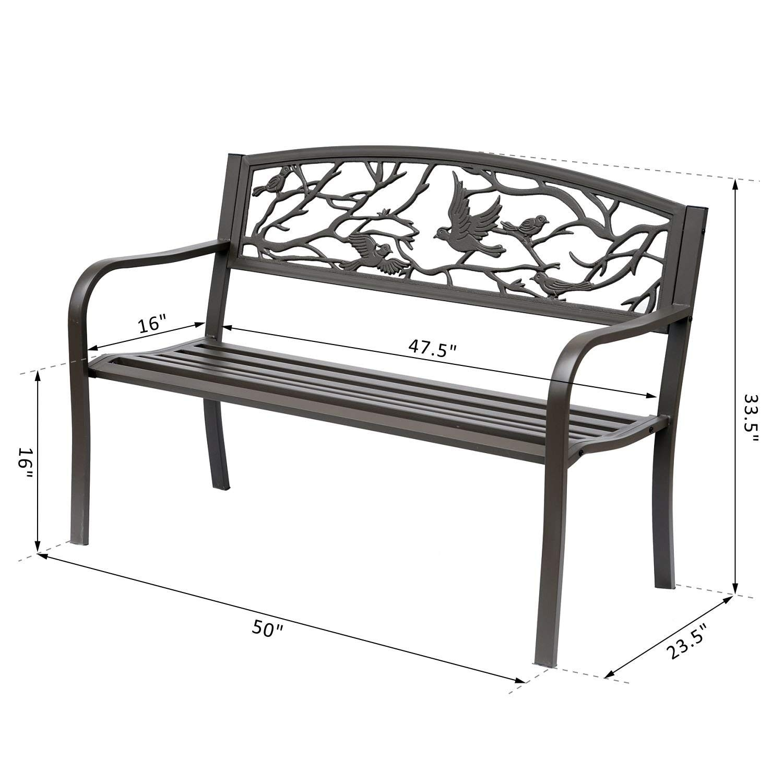 outsunny 50 cast iron vintage bird pattern garden patio bench