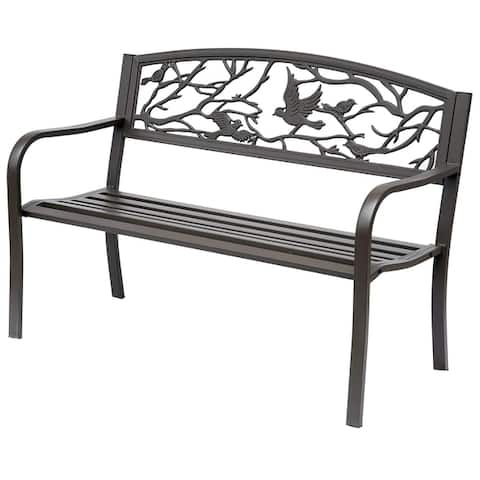 "Outsunny 50"" Cast Iron Vintage Bird Pattern Garden Patio Bench"