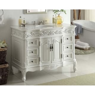 48 Benton Collection Beckham Antique White Bathroom Vanity
